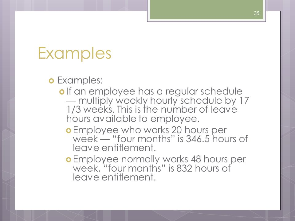 Examples Examples:
