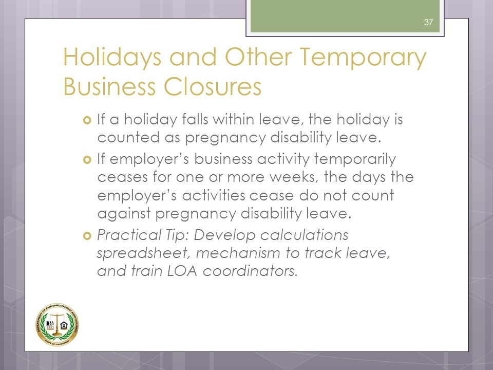 Holidays and Other Temporary Business Closures