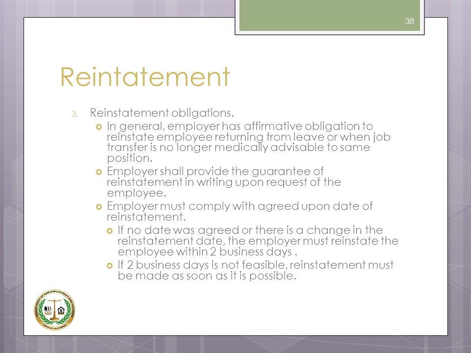 Reintatement Reinstatement obligations.