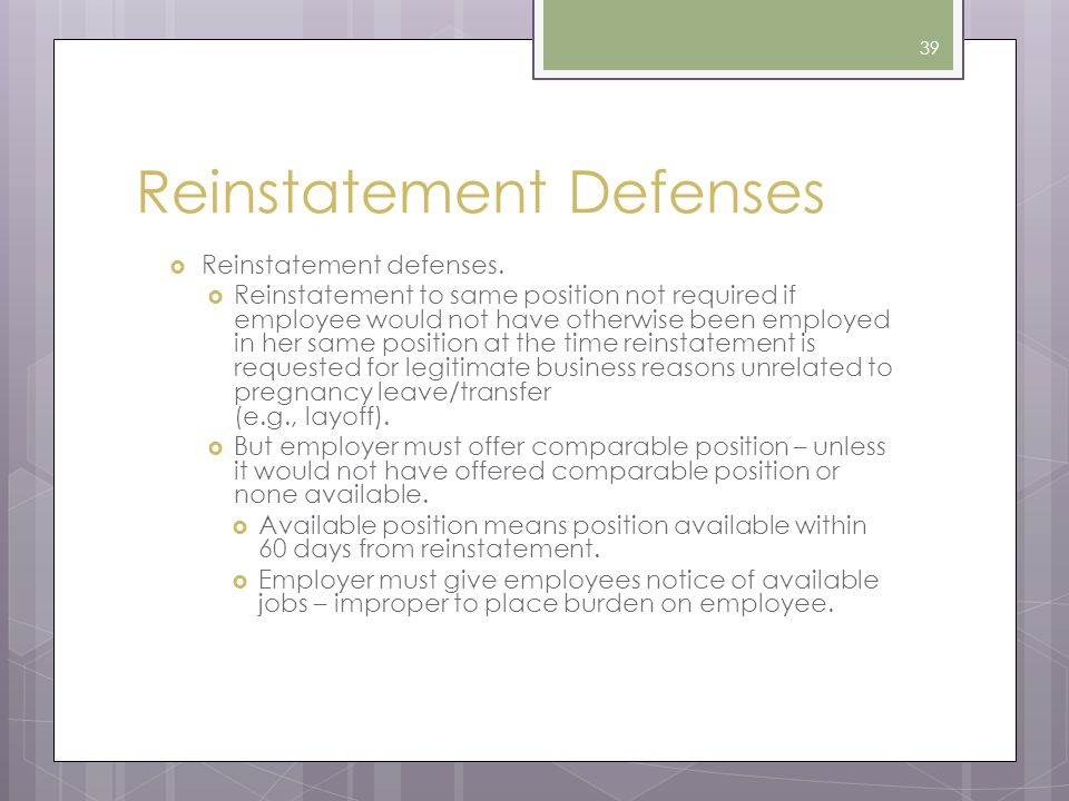 Reinstatement Defenses