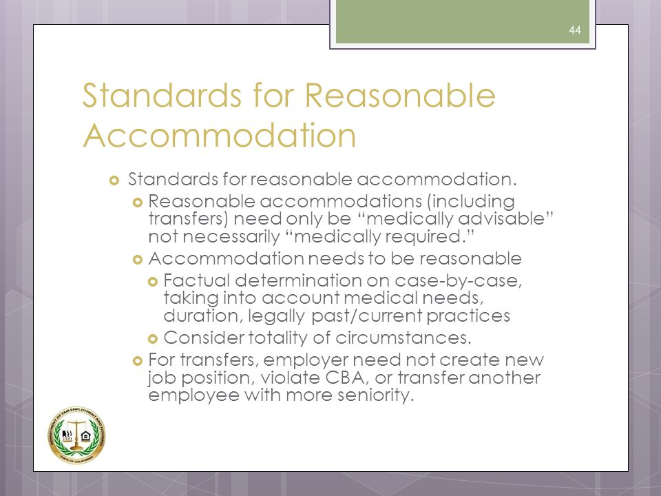 Standards for Reasonable Accommodation