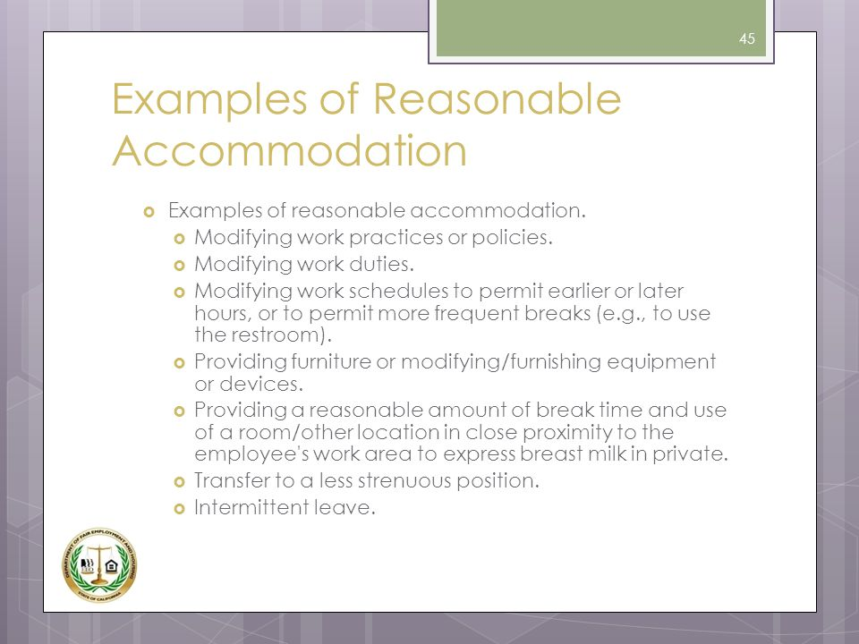 Examples of Reasonable Accommodation