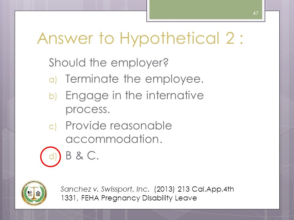 Answer to Hypothetical 2 :
