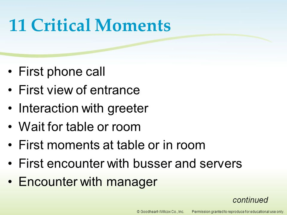 11 Critical Moments First phone call First view of entrance