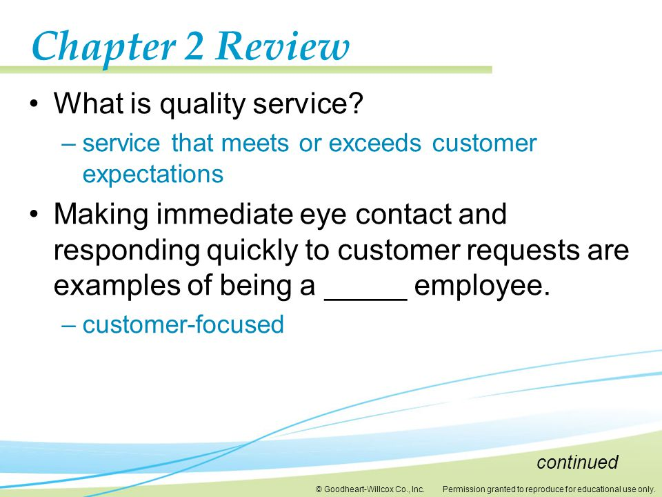 Chapter 2 Review What is quality service