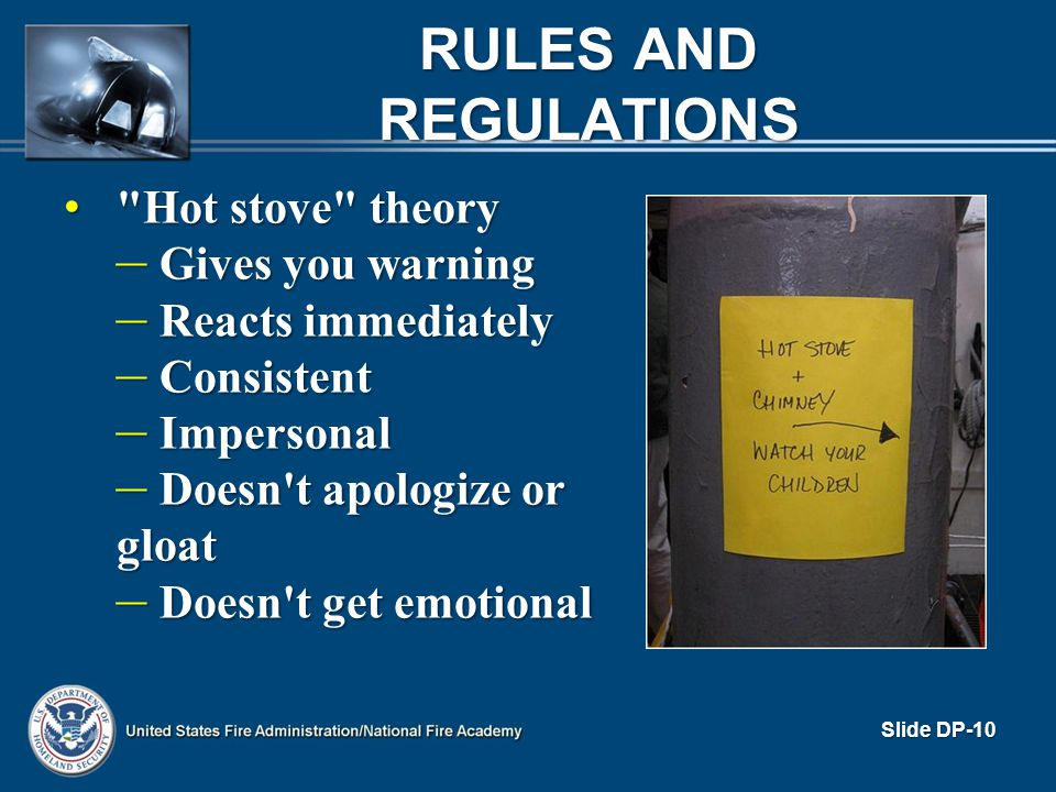 Rules and Regulations Hot stove theory Gives you warning