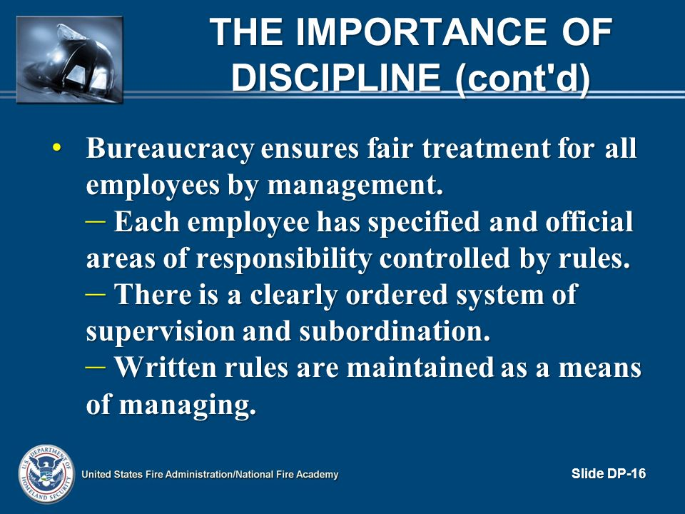 The Importance of Discipline (cont d)
