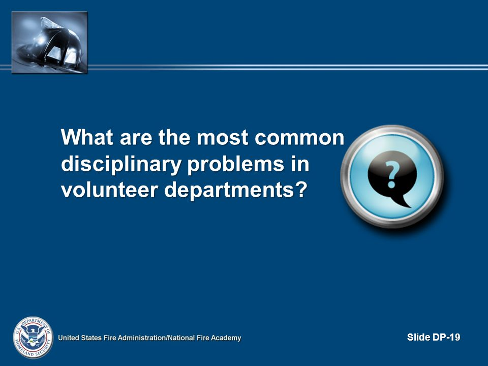 What are the most common disciplinary problems in volunteer departments