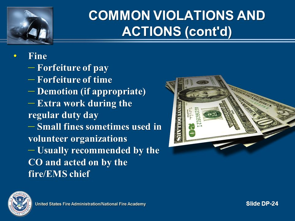 Common Violations and Actions (cont d)