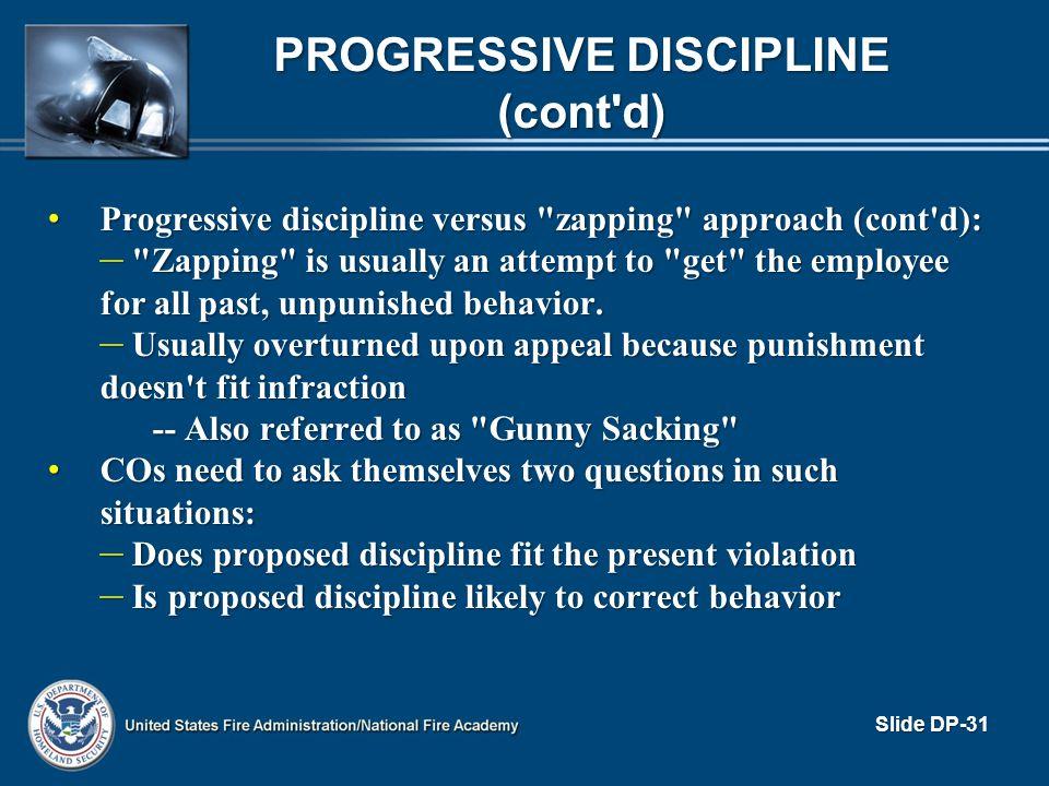 Progressive Discipline (cont d)