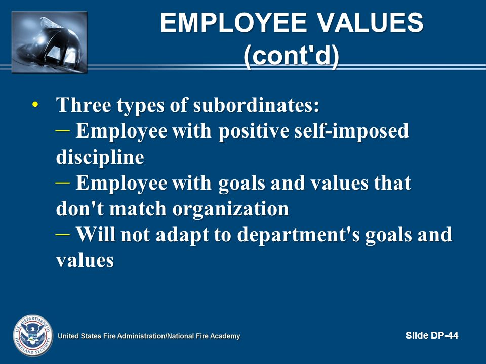 Employee Values (cont d)