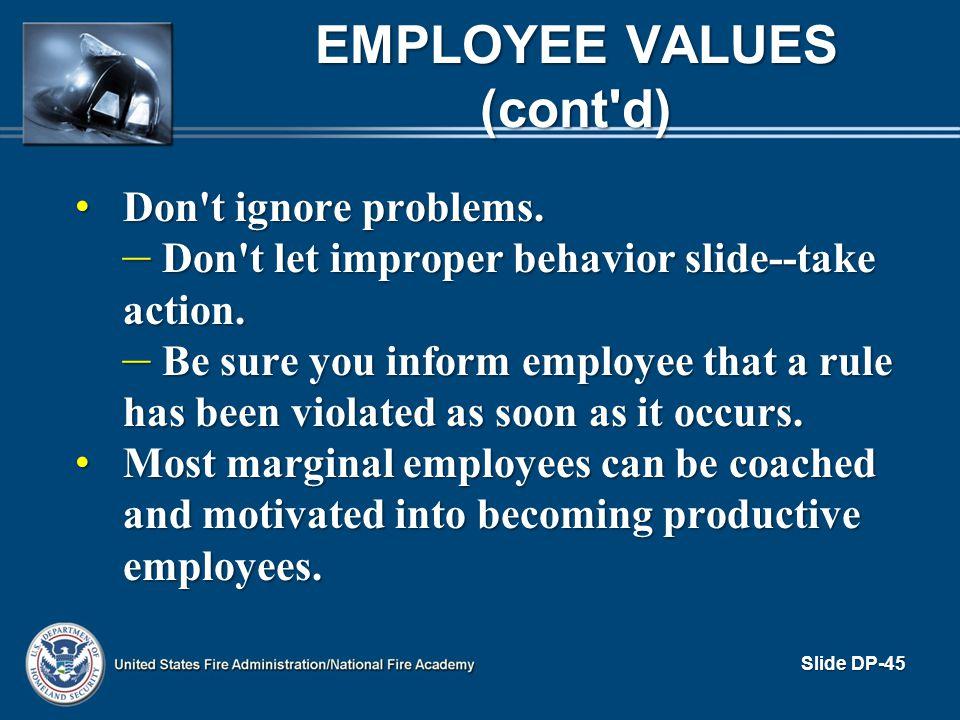 Employee Values (cont d)
