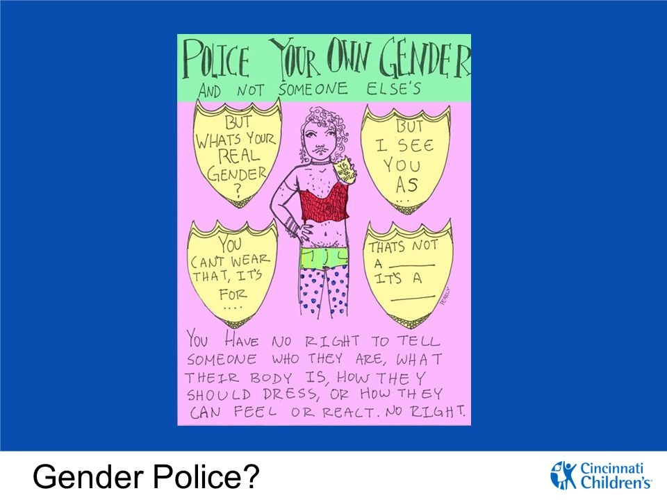 Our goal, as providers and in our clinics and in our hospital system is to provide a safe environment for our patients to self-identify. We are not the gender police.