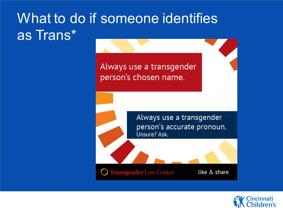 What to do if someone identifies as Trans*