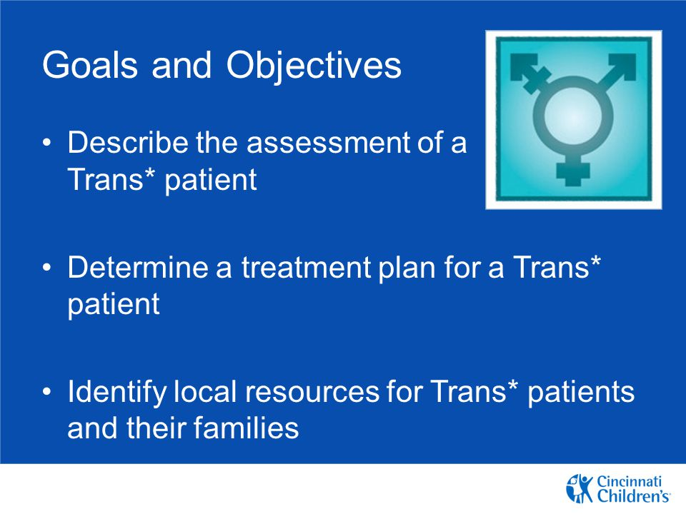Goals and Objectives Describe the assessment of a Trans* patient