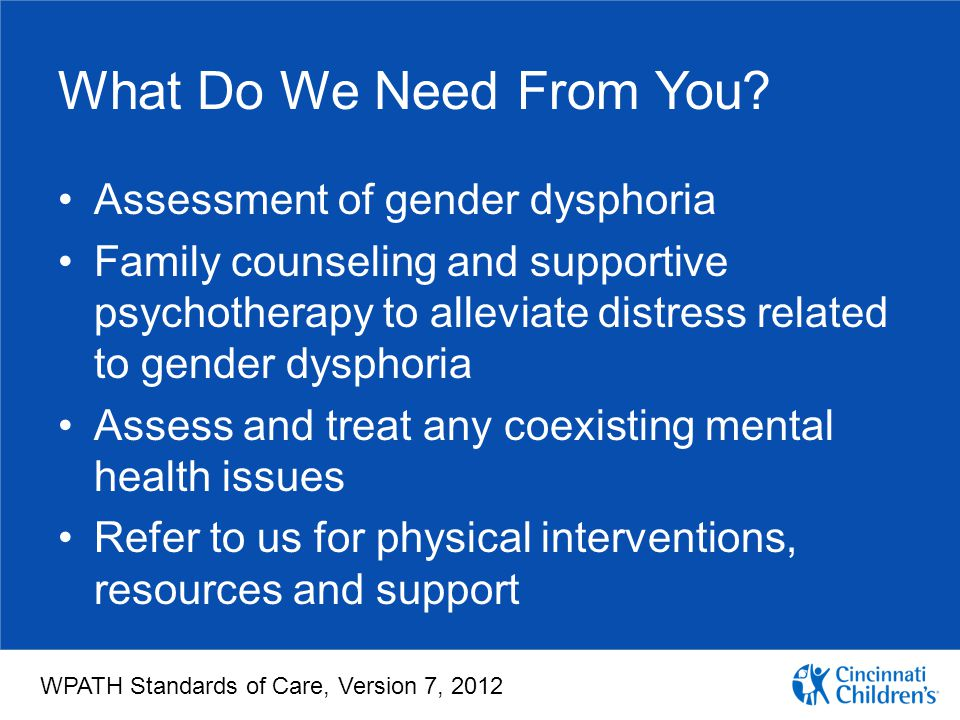 What Do We Need From You Assessment of gender dysphoria