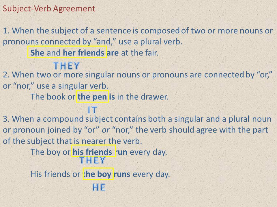 THEY IT THEY HE Subject-Verb Agreement