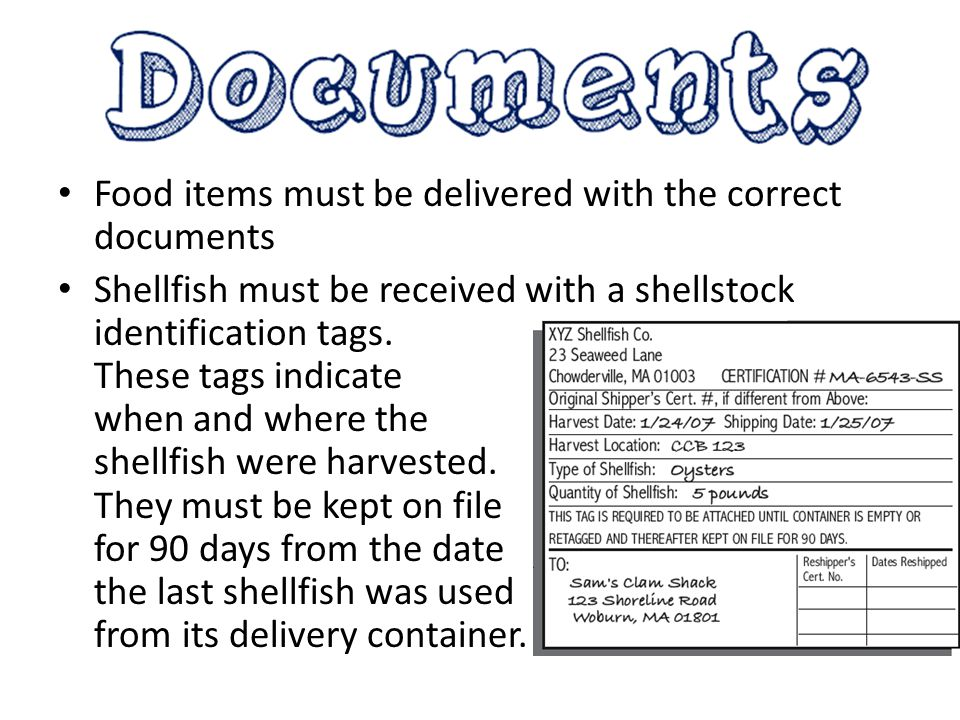 Food items must be delivered with the correct documents