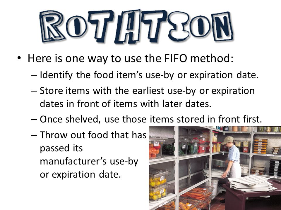 Here is one way to use the FIFO method: