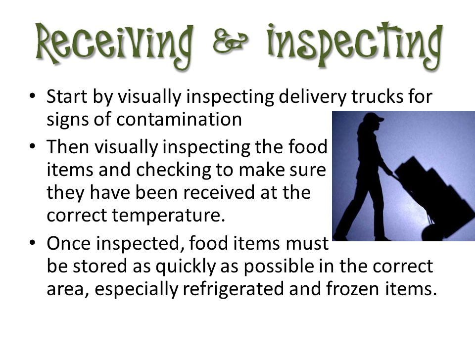 Start by visually inspecting delivery trucks for signs of contamination