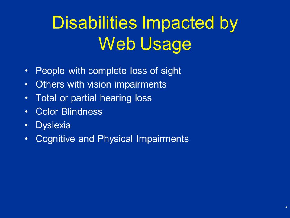 Disabilities Impacted by Web Usage