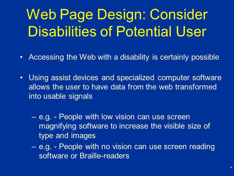 Web Page Design: Consider Disabilities of Potential User