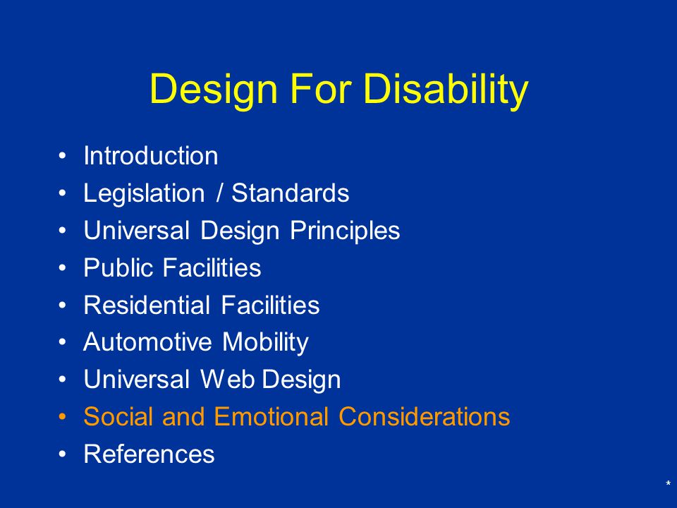 Design For Disability Introduction Legislation / Standards