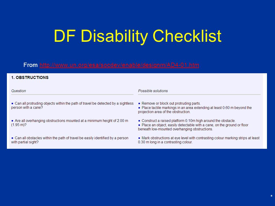 DF Disability Checklist