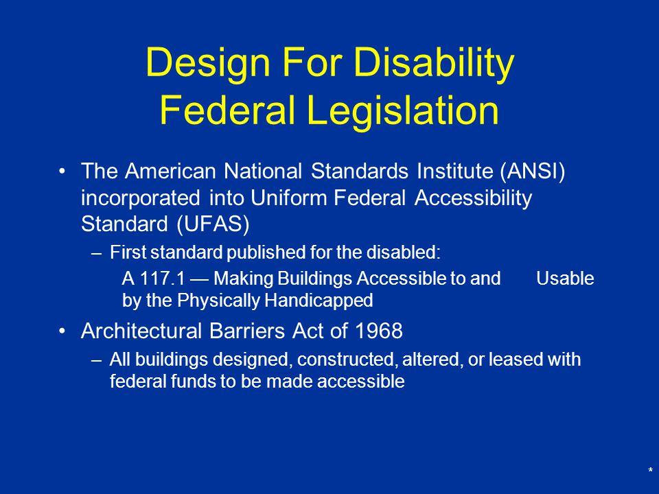 Design For Disability Federal Legislation