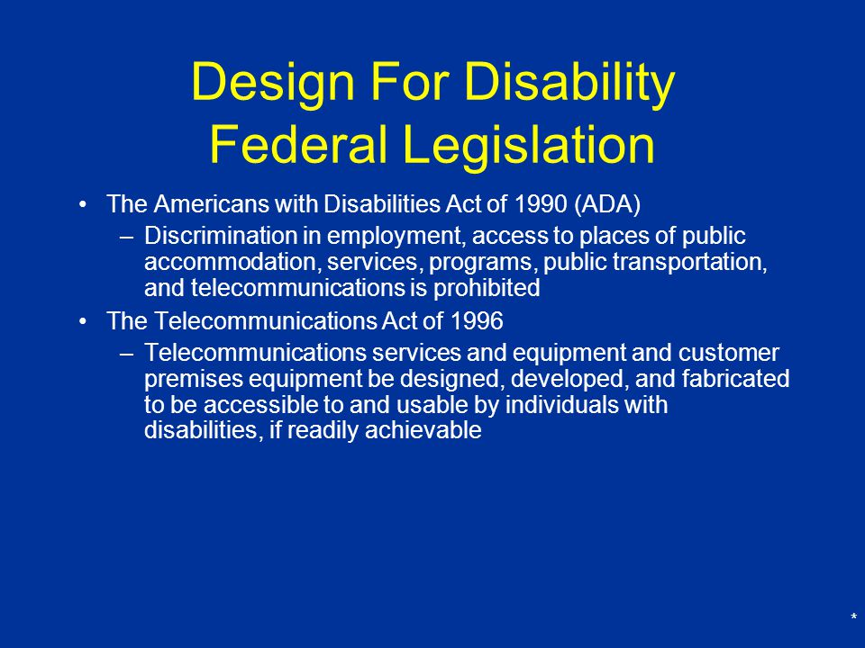Design For Disability Federal Legislation