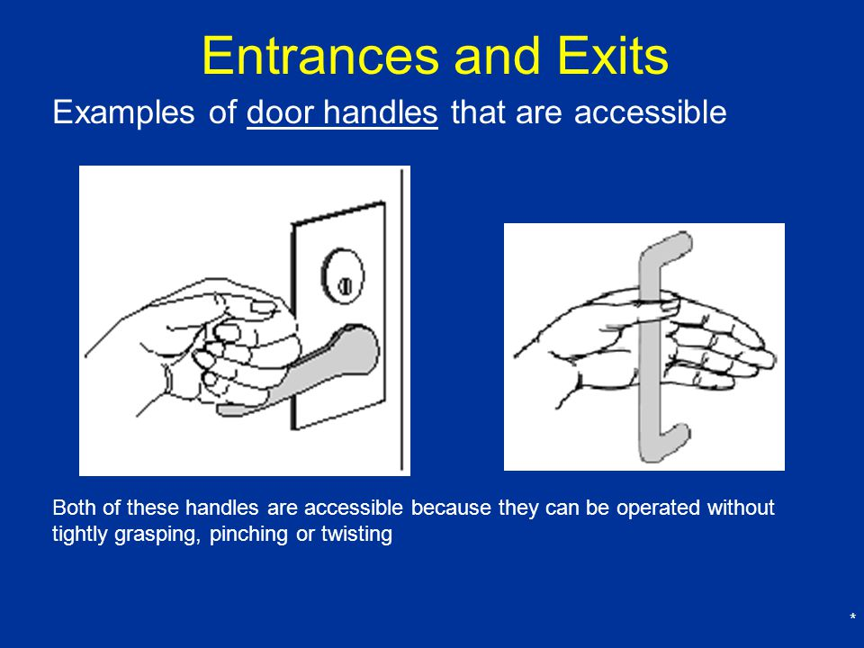 Entrances and Exits Examples of door handles that are accessible