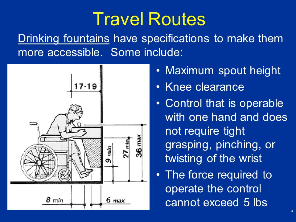 Travel Routes Drinking fountains have specifications to make them more accessible. Some include: Maximum spout height.