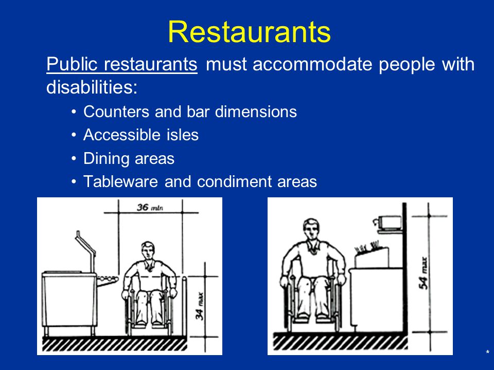 Restaurants Public restaurants must accommodate people with disabilities: Counters and bar dimensions.