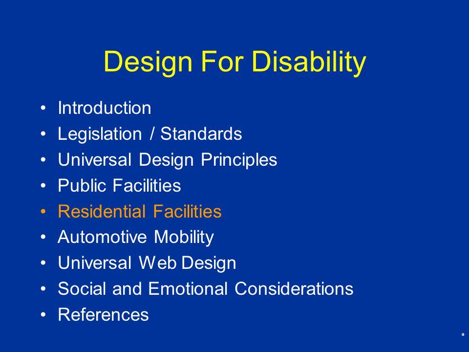 Design For Disability Introduction Legislation / Standards
