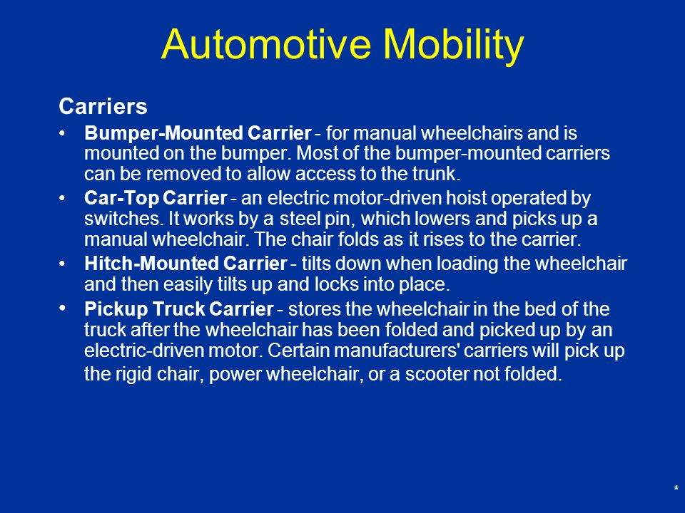 Automotive Mobility Carriers