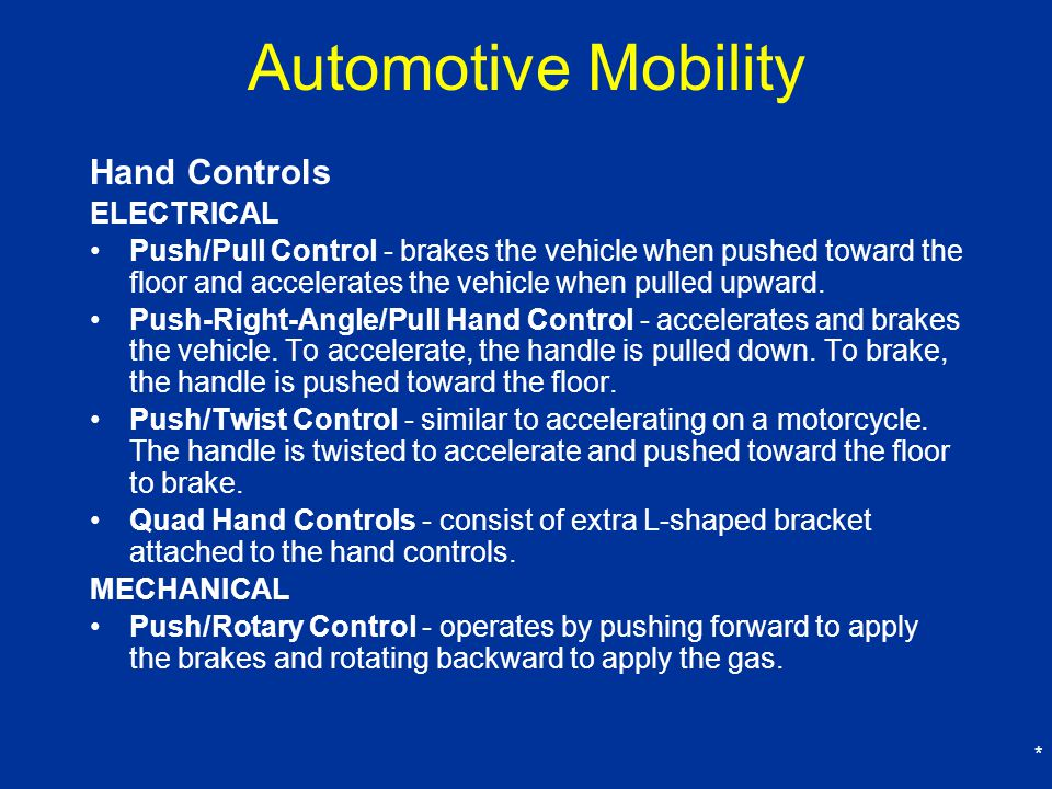 Automotive Mobility Hand Controls ELECTRICAL