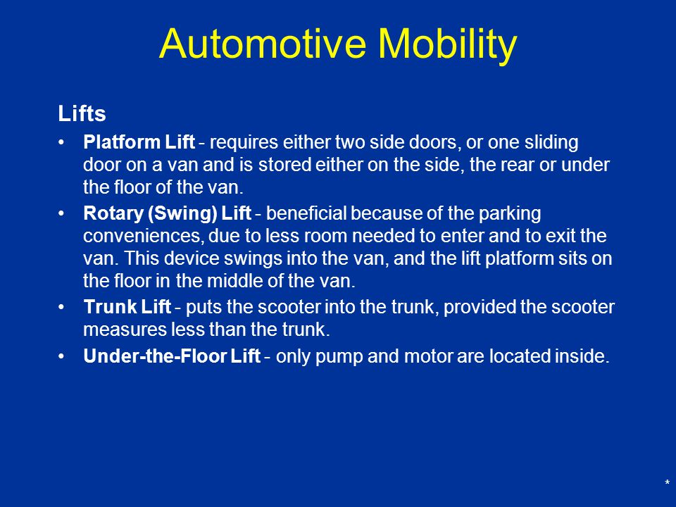 Automotive Mobility Lifts