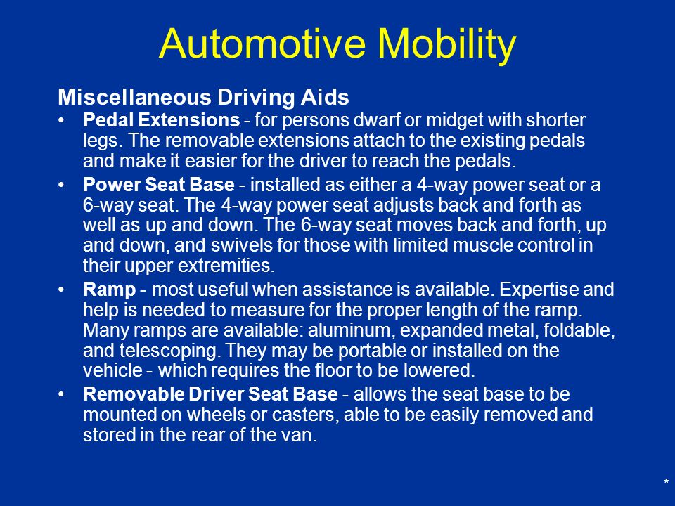 Automotive Mobility Miscellaneous Driving Aids