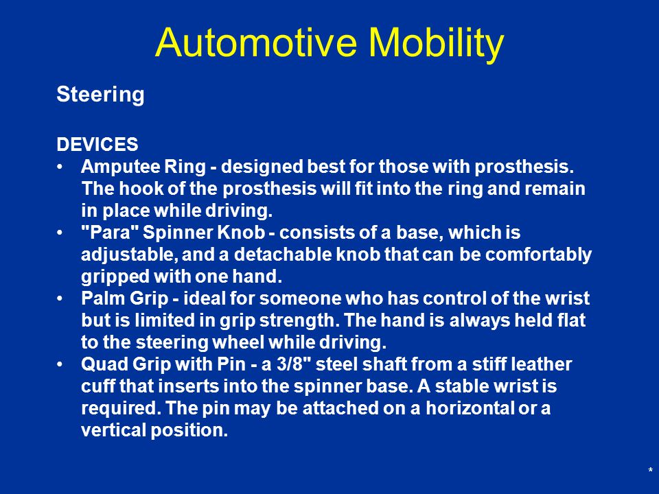 Automotive Mobility Steering DEVICES