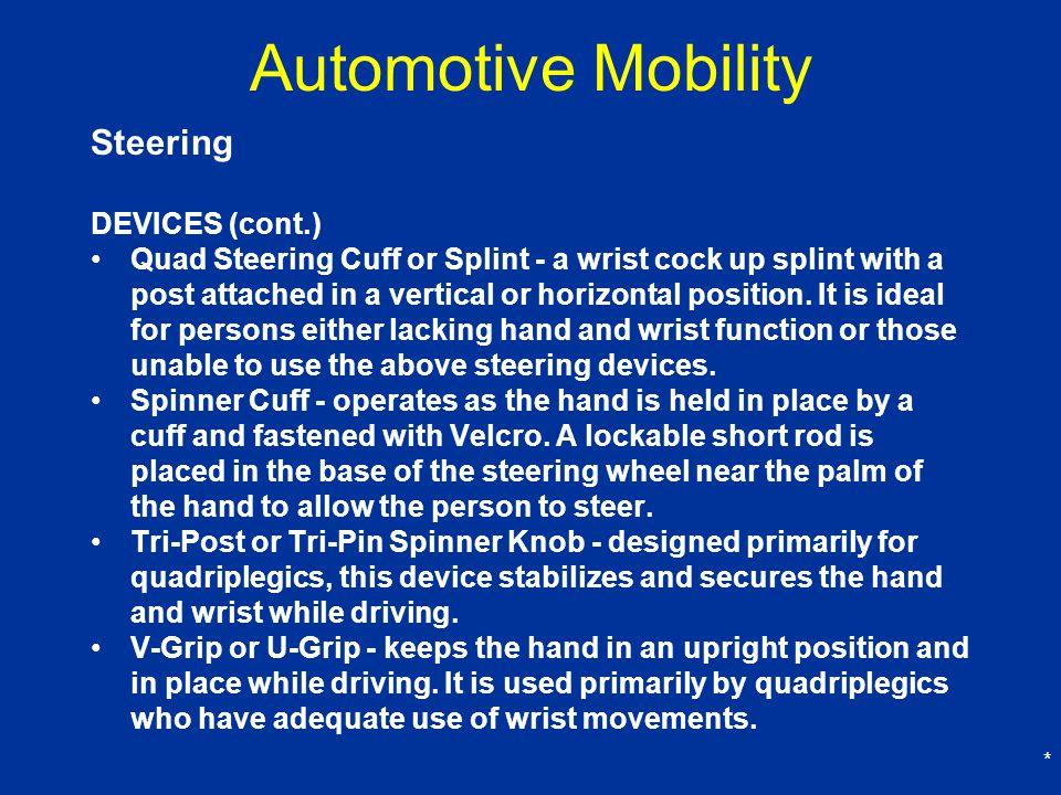 Automotive Mobility Steering DEVICES (cont.)
