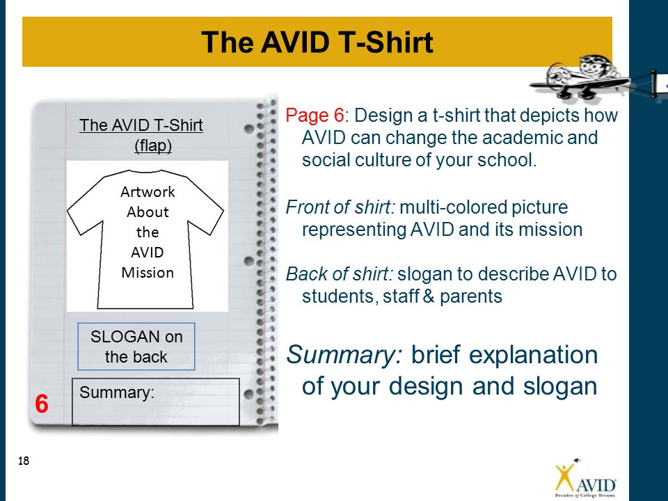 The AVID T-Shirt Summary: brief explanation of your design and slogan