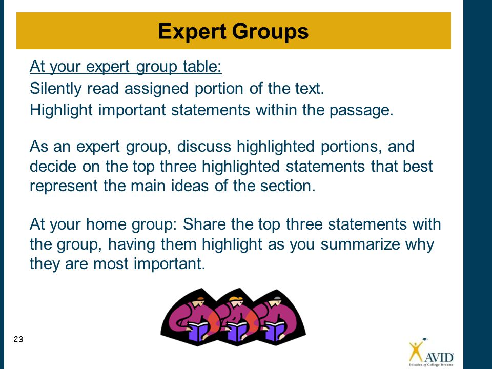 Expert Groups At your expert group table: