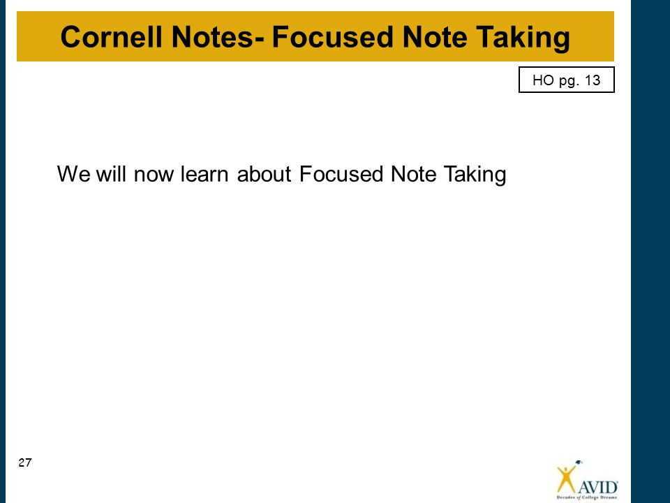 Cornell Notes- Focused Note Taking