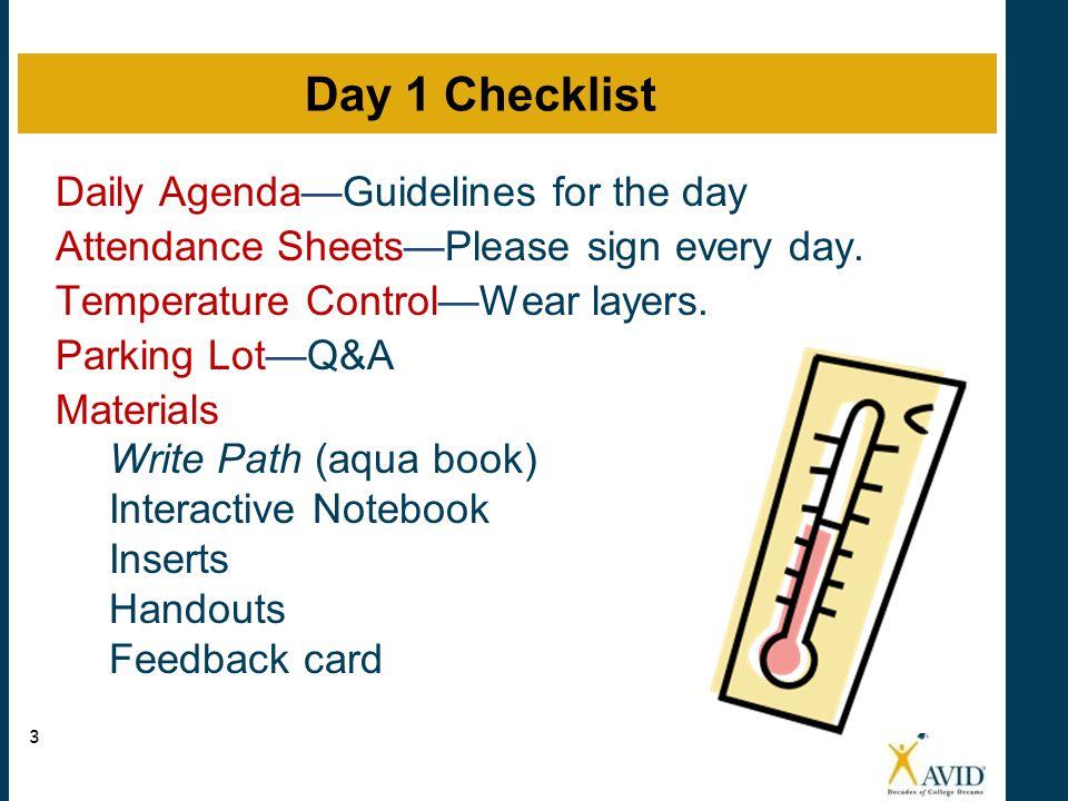 Day 1 Checklist