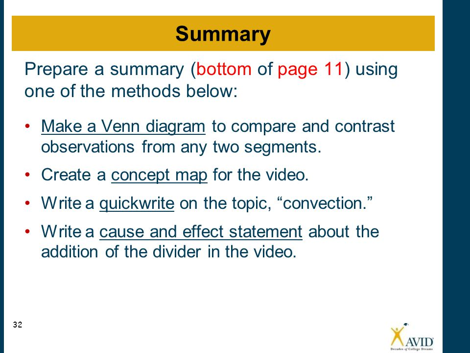 Summary Prepare a summary (bottom of page 11) using