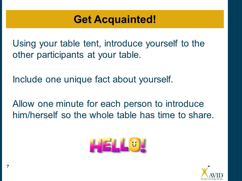 Get Acquainted! Using your table tent, introduce yourself to the other participants at your table.
