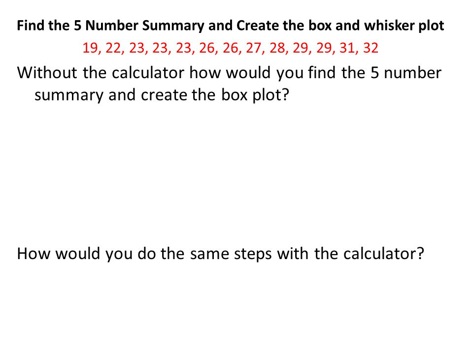 Find the 5 Number Summary and Create the box and whisker plot