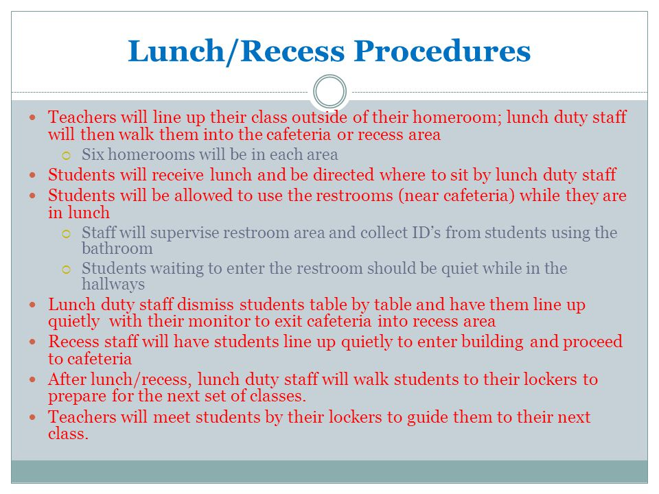 Lunch/Recess Procedures