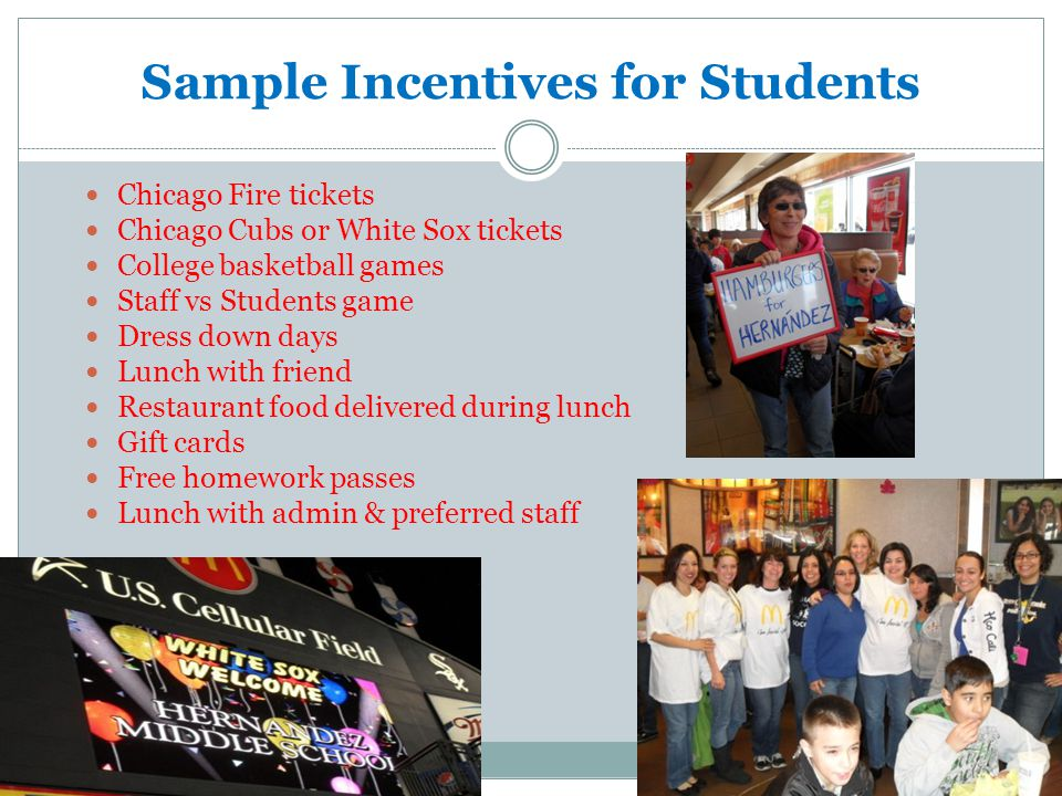 Sample Incentives for Students