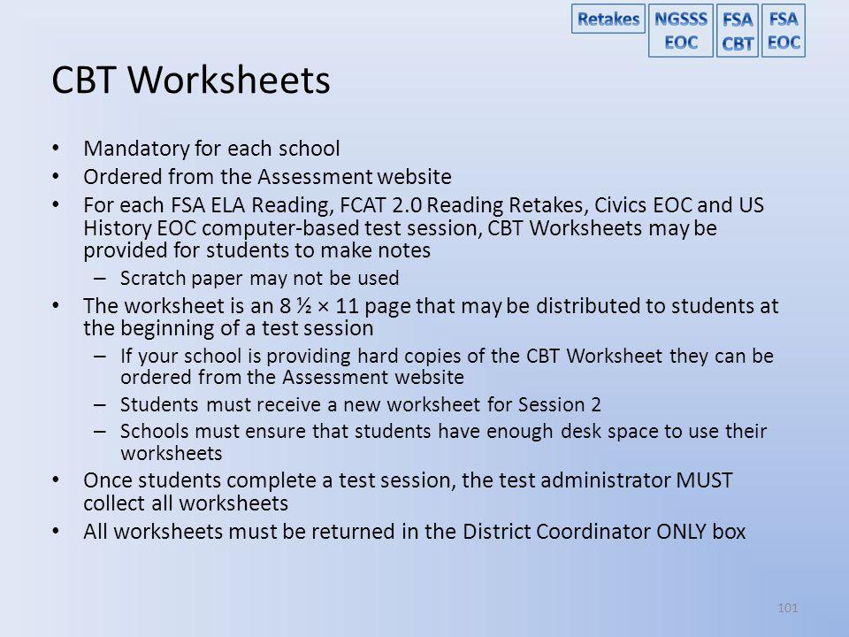 CBT Worksheets Mandatory for each school